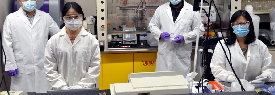 U of A engineering researcher Hyo-Jick Choi (left) and his lab team will focus on manufacturing prototype salt-coated masks and respirators, or a salt-coated filter that is easy to produce and reusable. (Photo: Michael Brown)